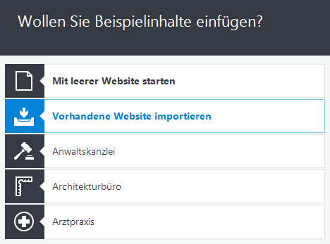 WordPress-Import einer bestehenden Website in Zeta Producer