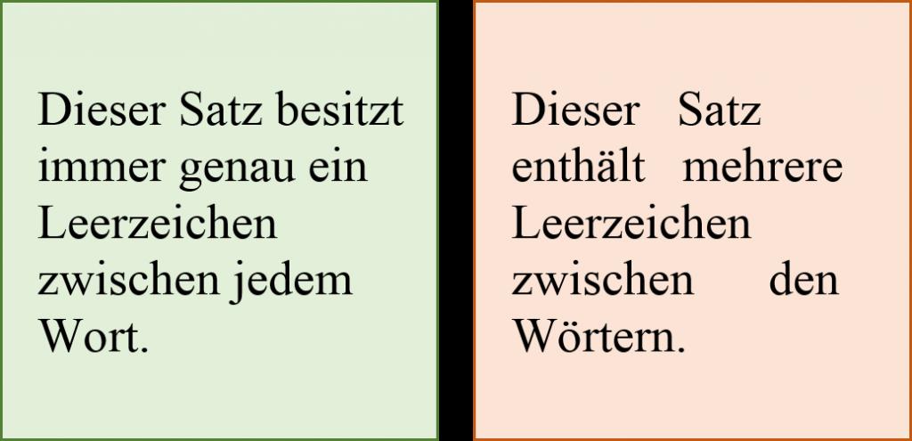 Mit Leerzeichen formatieren