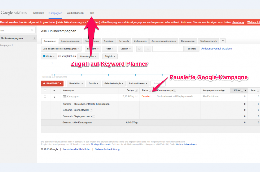 Keyword Planner ohne Kosten nutzen