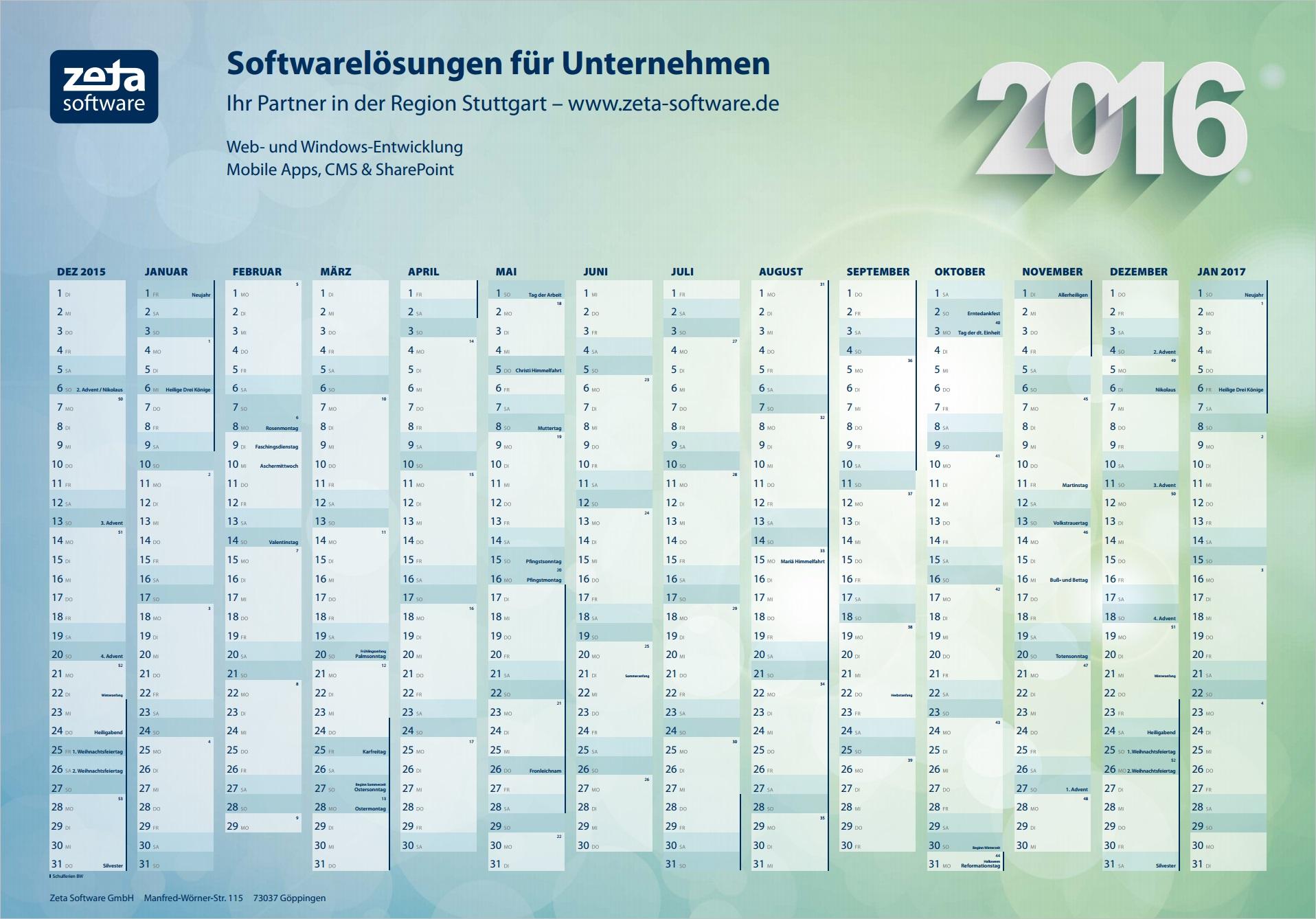 Kostenloser Wandkalender 2016 zum selber Ausdrucken als PDF