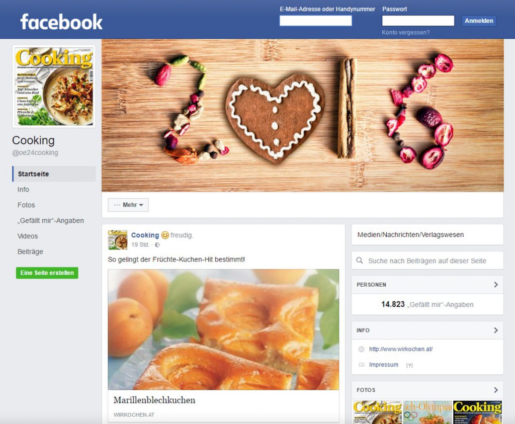 Kochrezepte auf Facebook