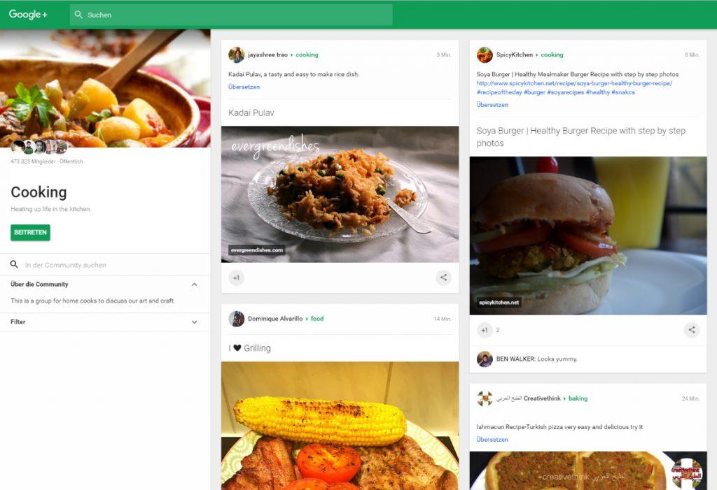 Kochrezepte auf Google+