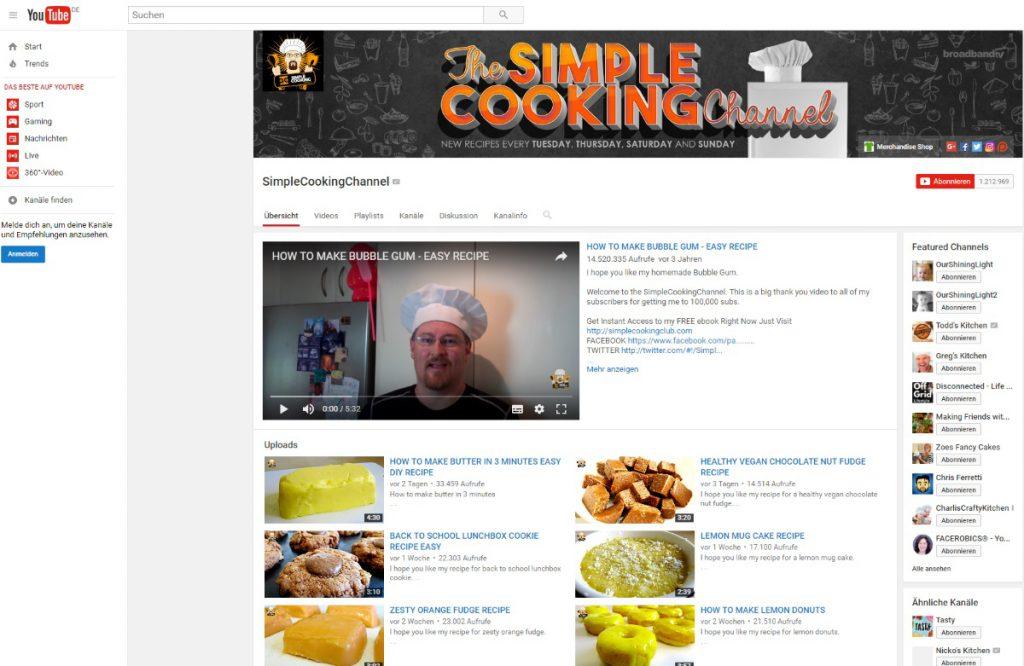 Kochrezepte auf Youtube