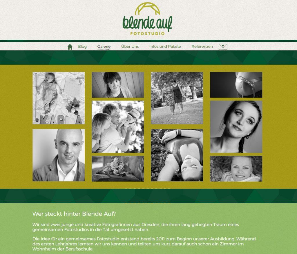 Startseite vom Fotostudio blende auf