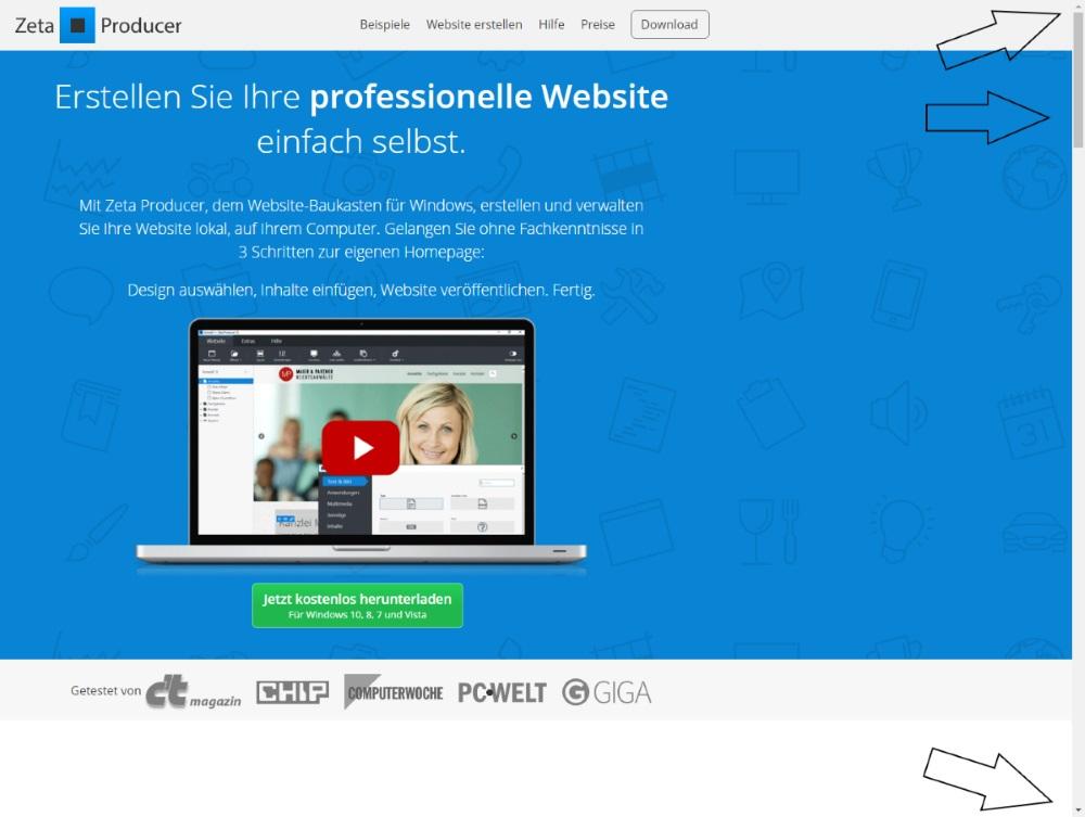 Scrollen auf einer Webseite