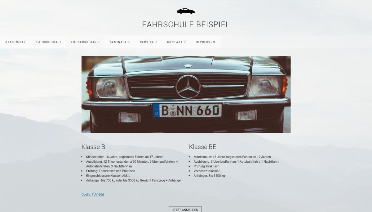 fahrschule webseite erstellen pkw