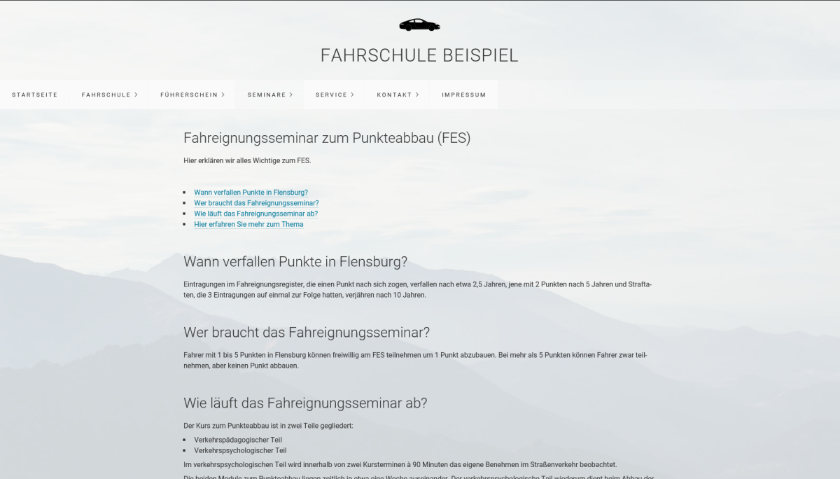 fahrschule webseite erstellen faq